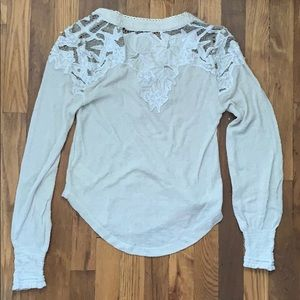 Free People Lace Henley Long Sleeve Top